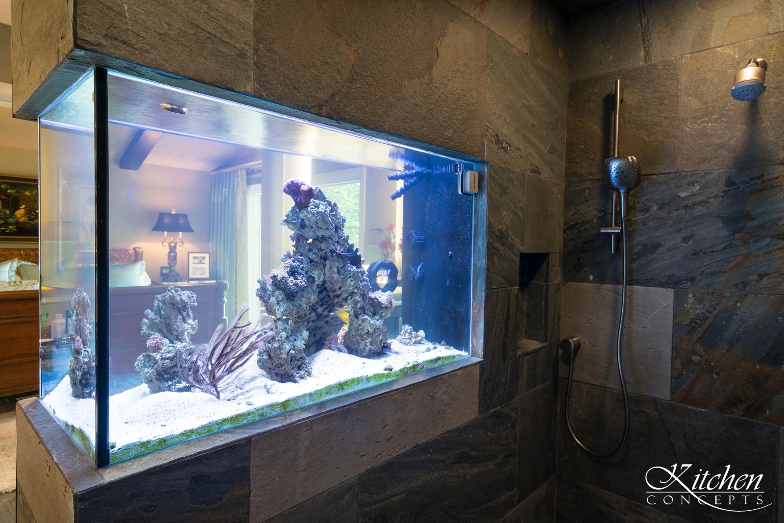 Organic Transitional Sophisticated Master Bathroom – Waterfall and Saltwater Fish Tank