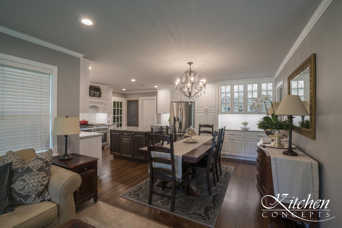 Kitchen And Living Room Remodel With Custom White Cabinets