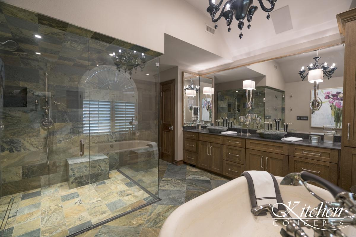 Large Bathroom Remodel with Classic Tub and Stone Tiled Walk In ...