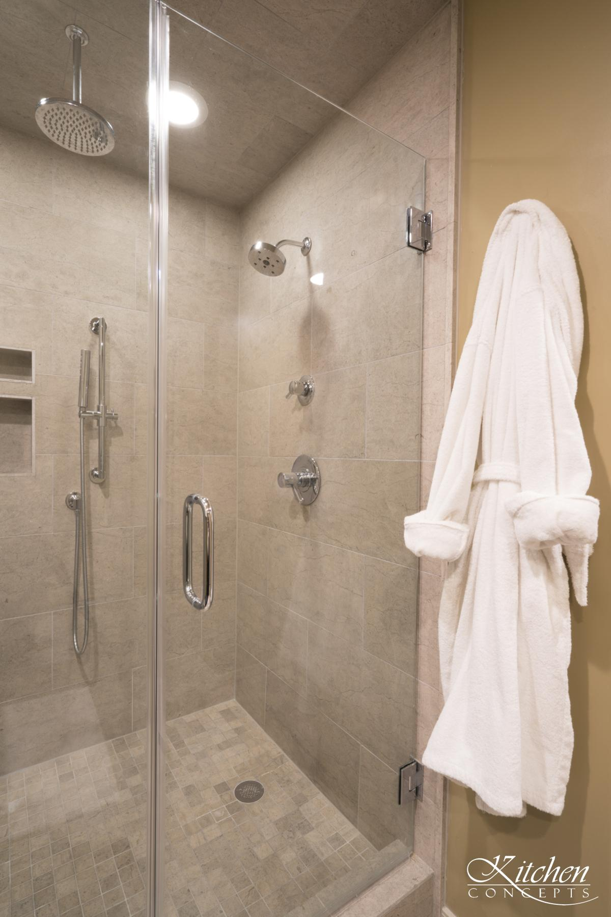 Bathroom Remodel With Walk In Shower And Custom Cabinets